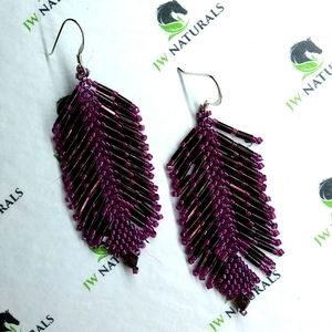 Handmade Cranberry Beaded Feather Fringe Earrings